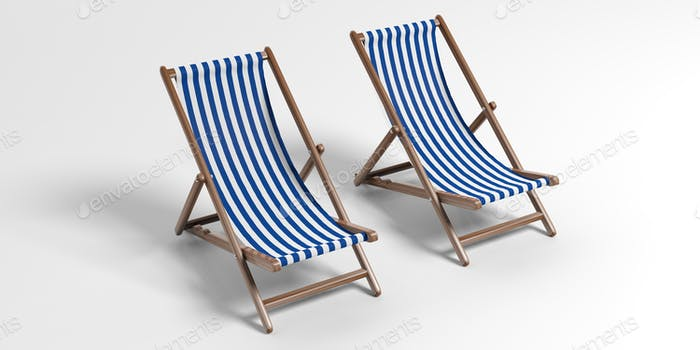 Beach chairs on white background. 3d illustration