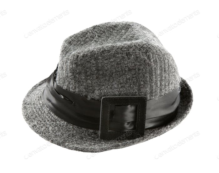 Grey knit wool fedora hat with broad hatband and leather buckle