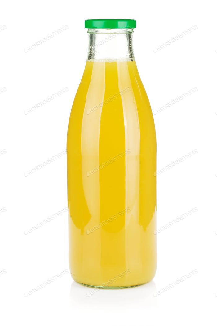 Glass bottle of pineapple juice