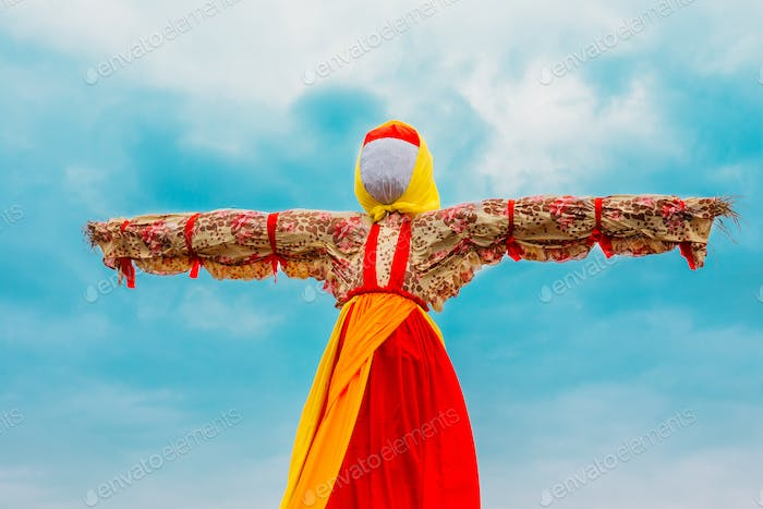 Close-Up Faceless Straw Effigy Of Dummy Maslenitsa, Eastern Slav