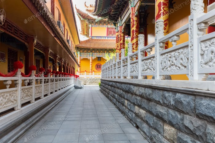 buddhist temple courtyards closeup