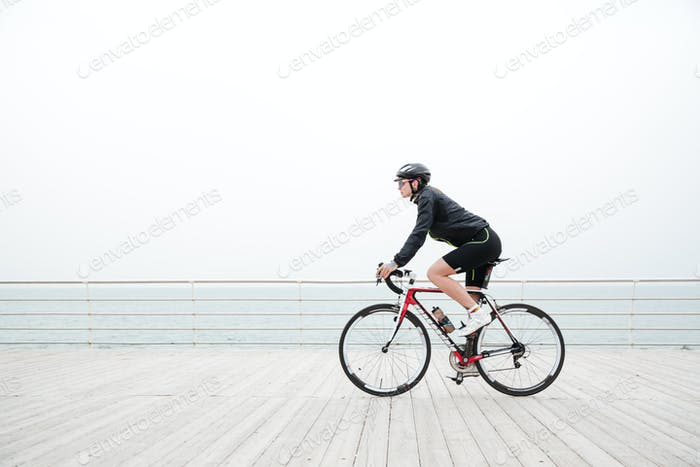 Woman riding on a bicycle outdoors