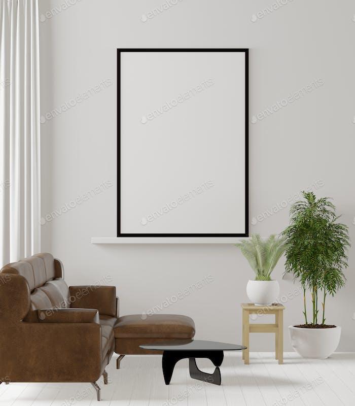 3D interoir design for living room and mockup frame
