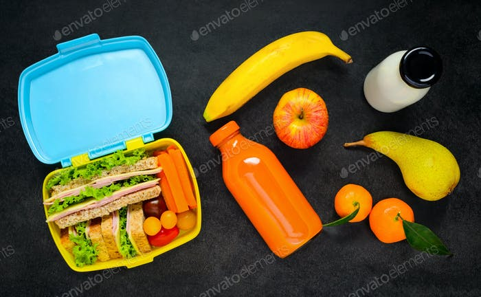 Lunch Box with Food and Drink