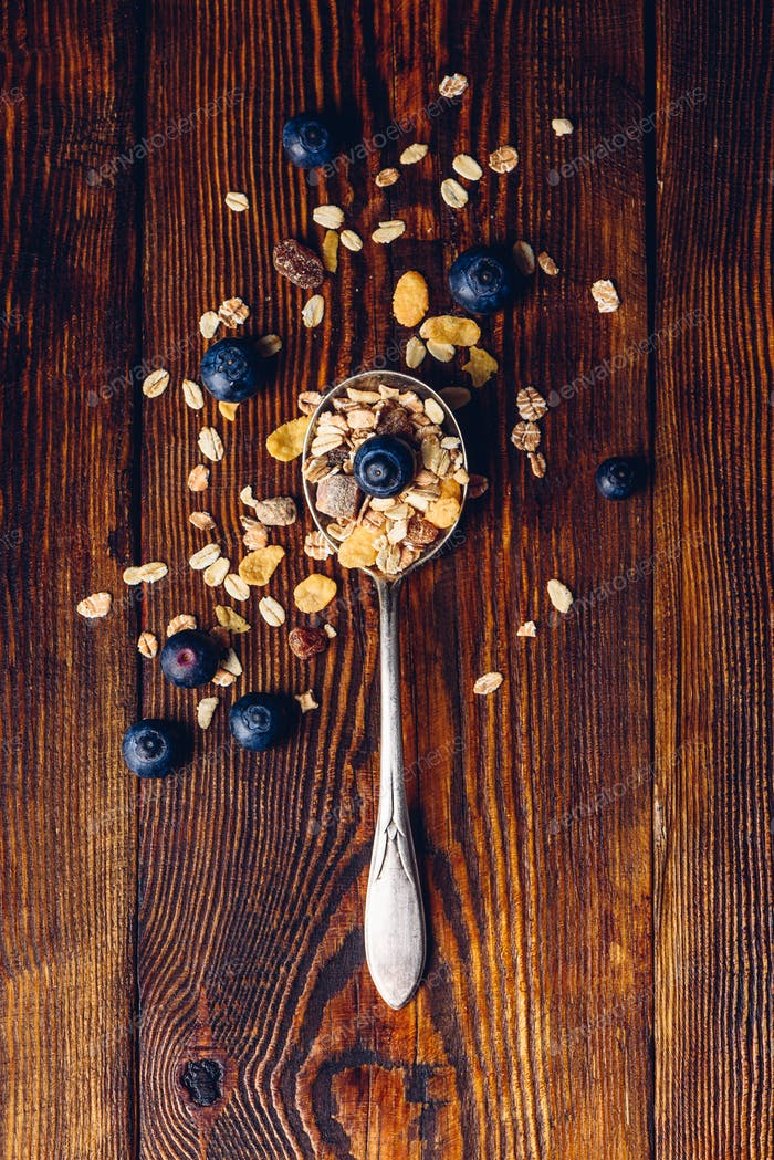 Spoonful of Muesli and Blueberry.