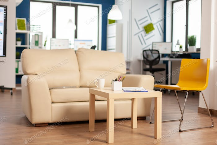 Modern business relax zone interior with confortable couch