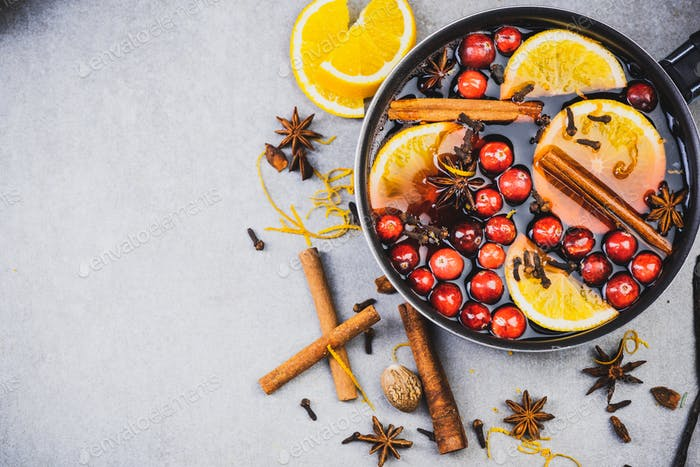 Traditional Mulled Wine Recipe Background, Top View, Copy SPace