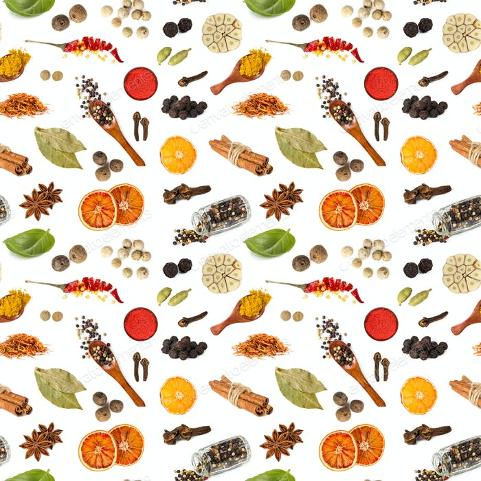 Seamless pattern with different spices