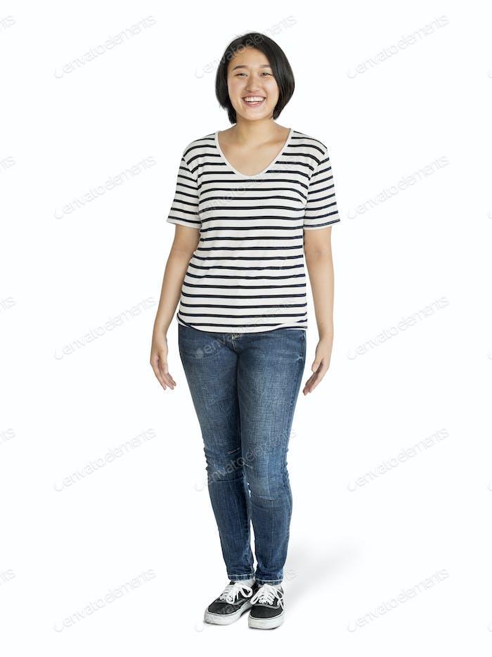 Asian woman standing mockup