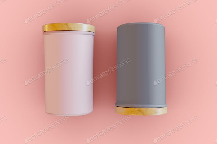 3D Illustration. Two cylindrical packaging mockup.