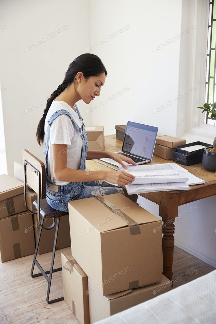Woman Running Business From Home Working On Laptop