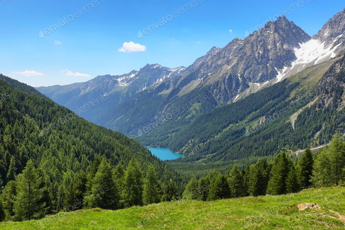 Italian Anterselva Lake from Stalle Pass, Italy