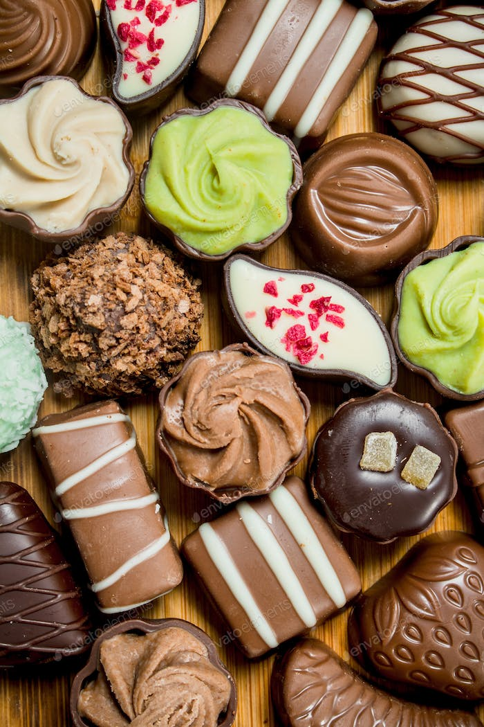 Chocolates candies with different fillings.