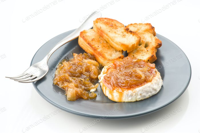 goat cheese with caramelized onion, modern gray dish
