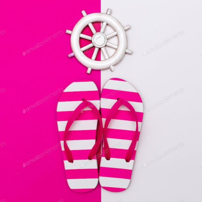 Flip-Flops. Meerestil. Lass uns an den Strand gehen. Minimales Design