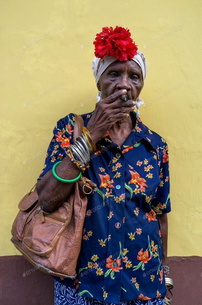 Woman with cuban cigar