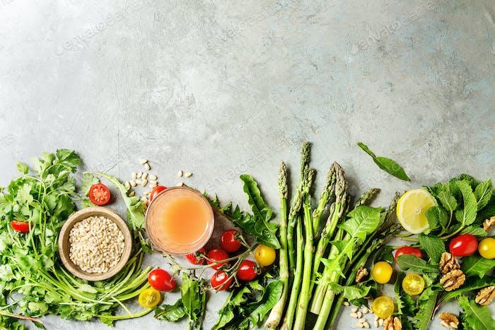 Sortiment vegetarischer Lebensmittelzutaten