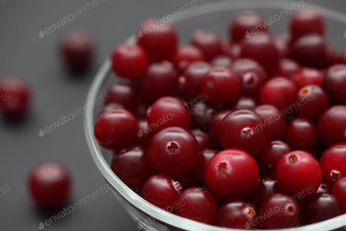 Cranberry in a glass bowl