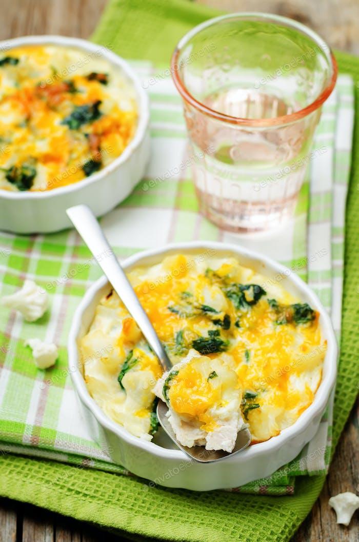 Chicken Spinach Cauliflower casserole