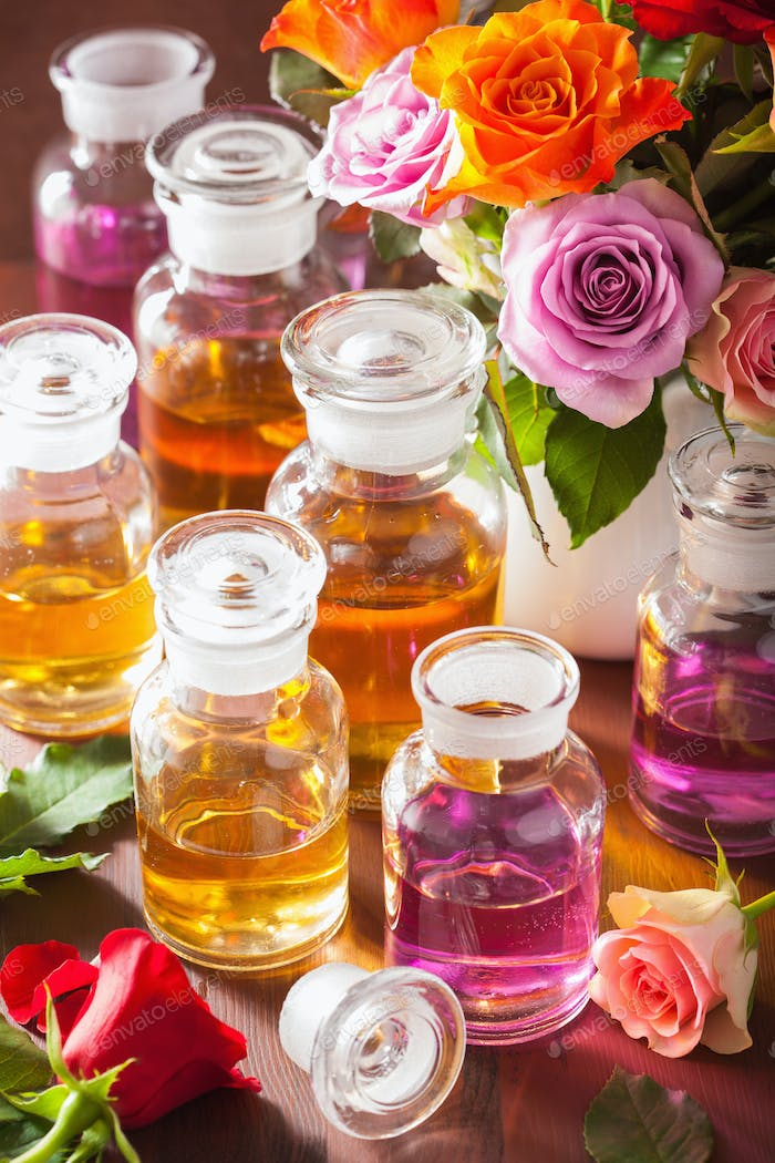 Thumbnail for essential oil and rose flowers aromatherapy spa perfumery