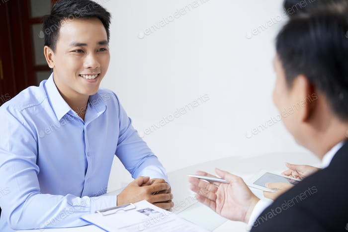 Man attending job interview
