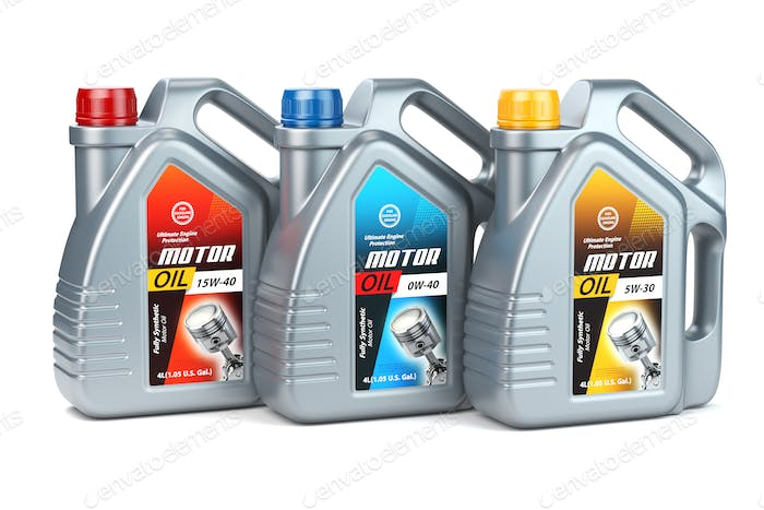 Plastic motor oil canisters with different types of motor oil on