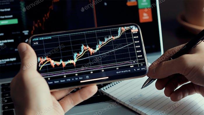 investment stockbroker stock market analysis data graph on smartphone