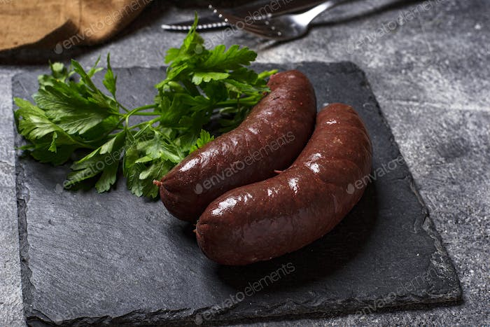 Homemade uncooked black pudding sausages