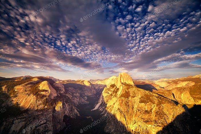 Yosemite National Park at sunset, USA.