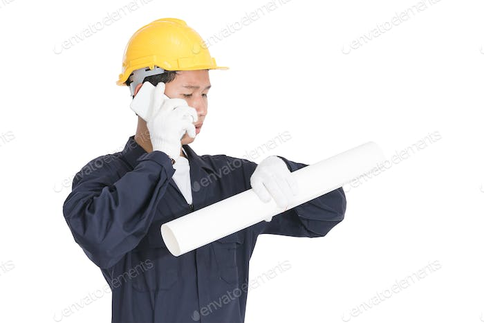 Worker holding blueprint and used smartphone-2