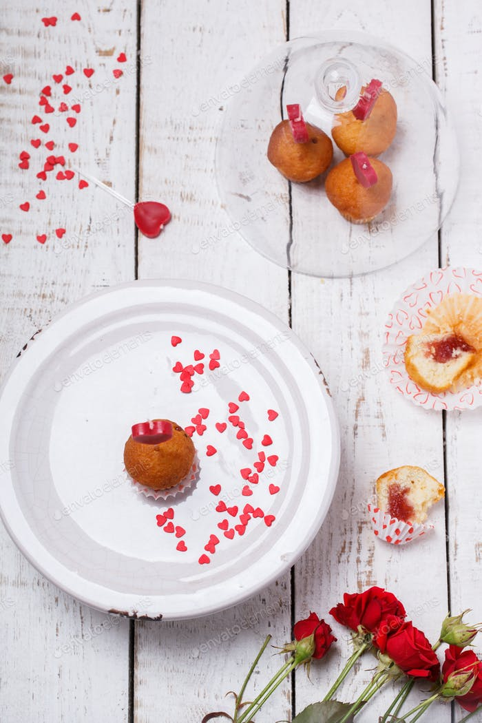 Mini muffins.Symbol Concept Holiday Valentine Day.Greeting Card,Gift.