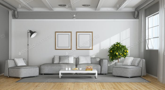 White and gray modern living room