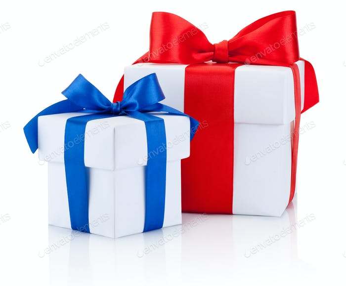 Two White gift boxs tied blue and red ribbons bow Isolated on wh