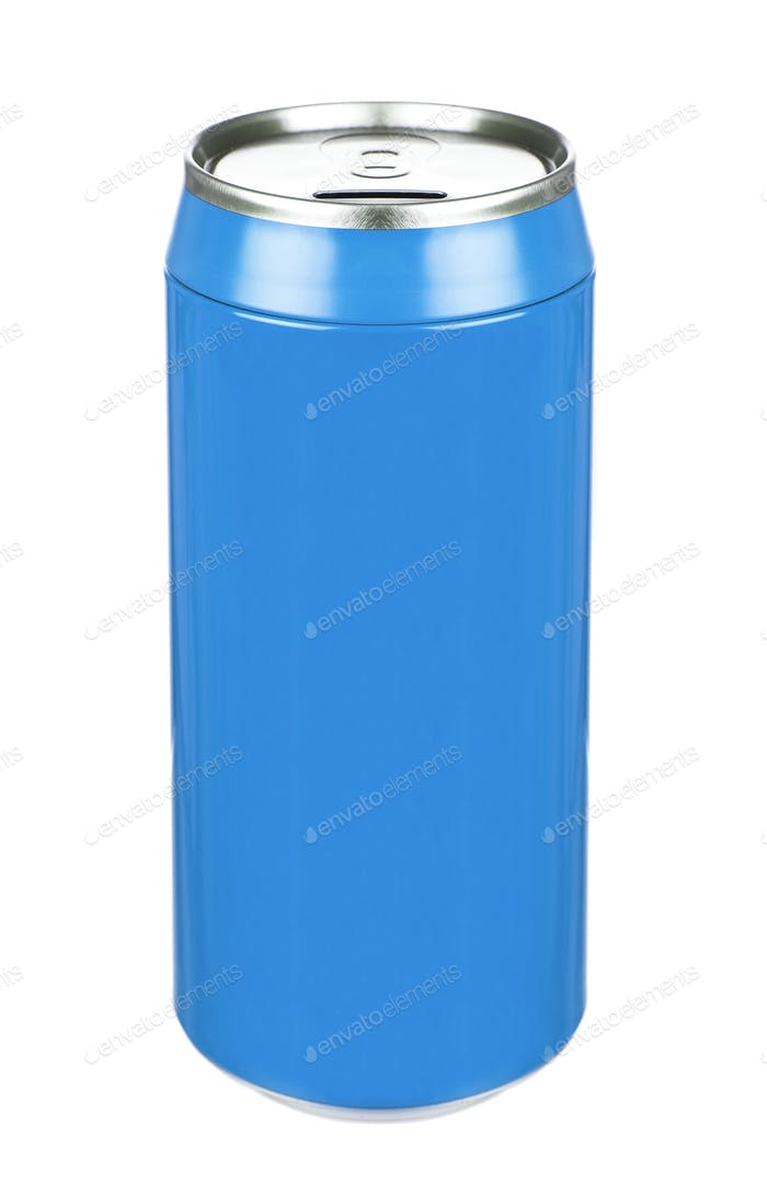 Aluminum blue soda can isolated