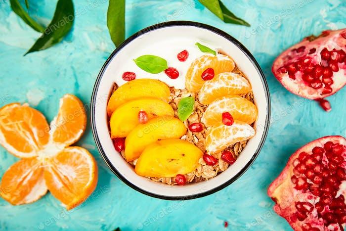 Tropical fruit Breakfast homemade granola yogurt. Healthy