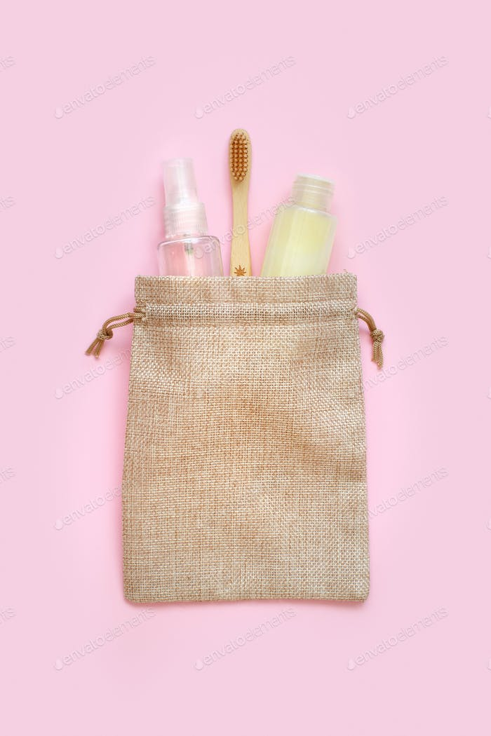 Placeit – vSustainable bathroom and lifestyle concept on pink background