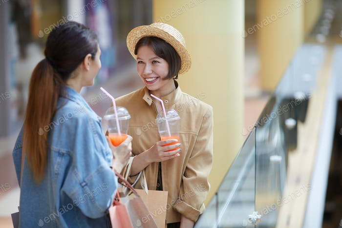 Talkative shoppers in mall