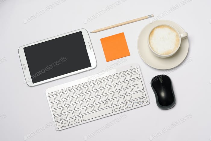 desk with office items