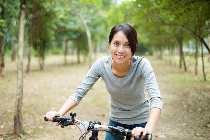 Woman enjoy cycling