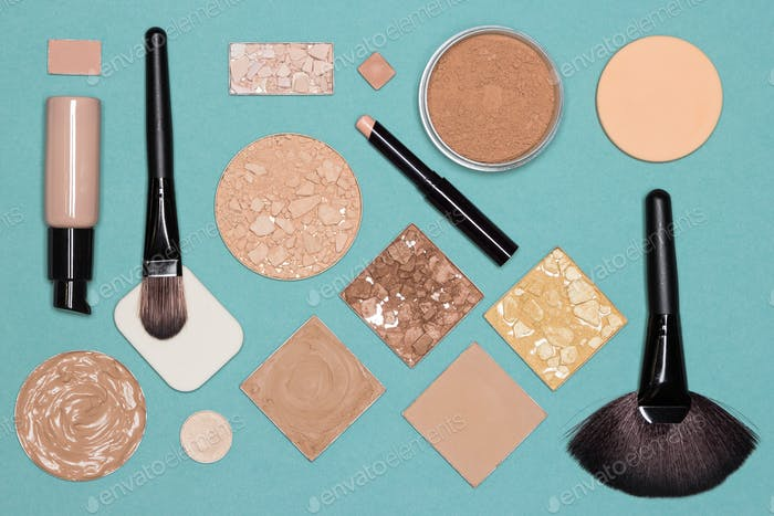Corrective makeup flat lay set