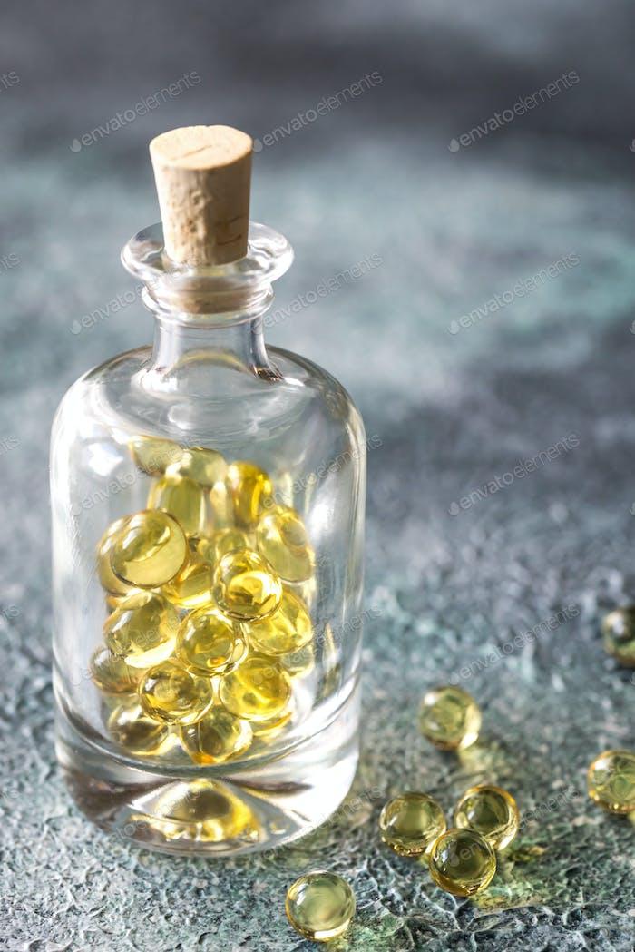 Baked asparagusOmega-3 fish oil capsules