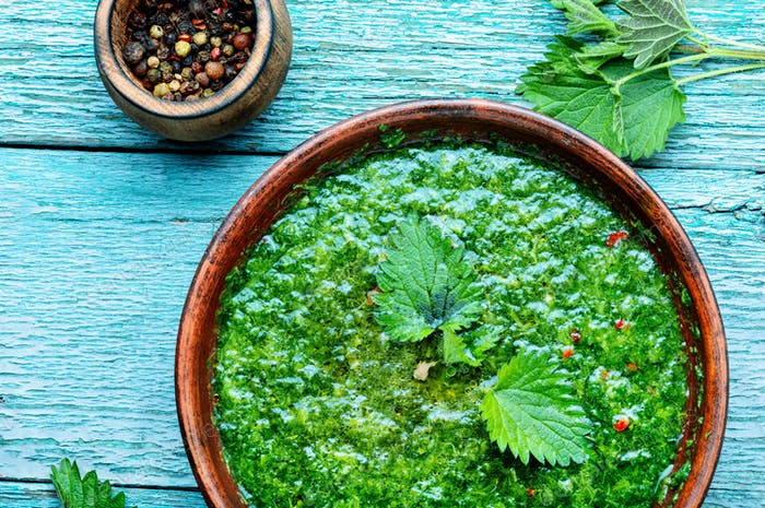 Russian traditional nettle soup