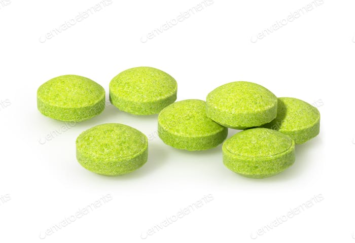 Green yellow pills closeup macro photography