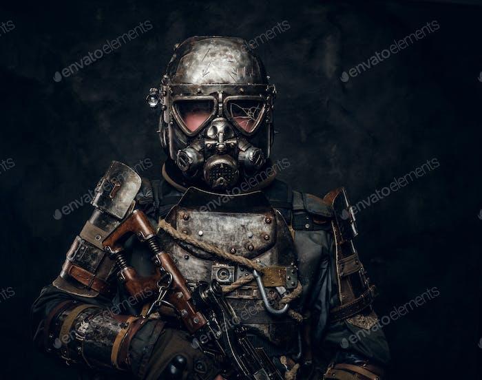 Portrait of man in cyborg costume