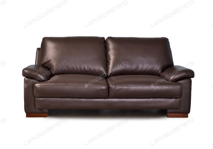Brown Leather Two Seater Sofa, Straight