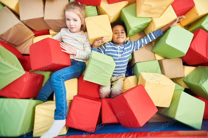 Kids Playing in Foam Pit