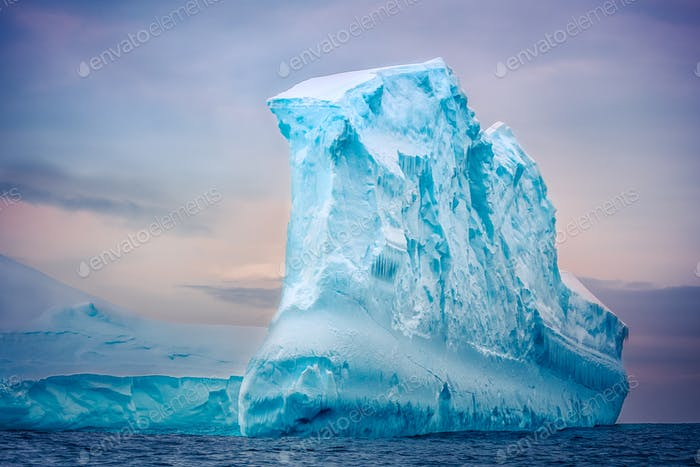 Antarctic iceberg floating in ocean