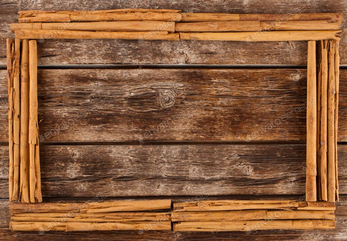 Frame with sticks of ceylon cinnamon