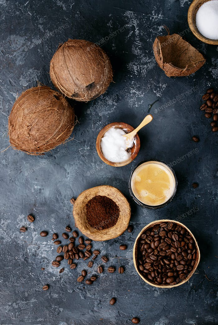Bulletproof coffee with coconuts