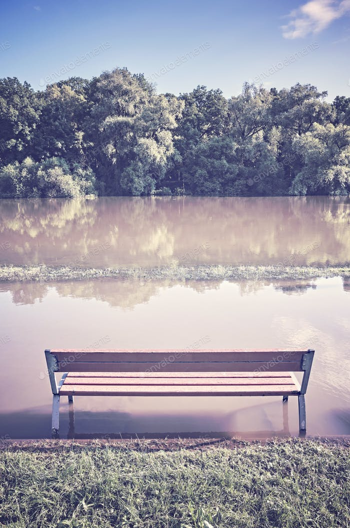 Empty bench at a flooded path in a park.